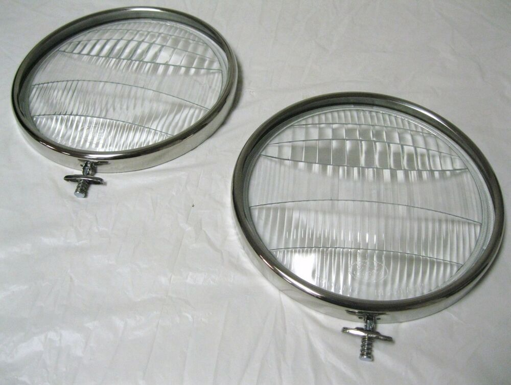 1933 1934 Ford Car Pickup Truck Glass Headlight Lenses + SS Headlight ...