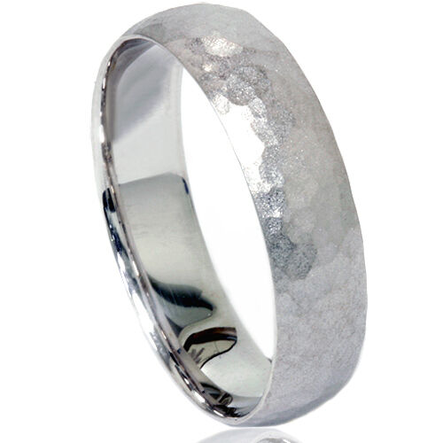 Mens Hammered Wedding Band 14K White Gold 6 MM Ring