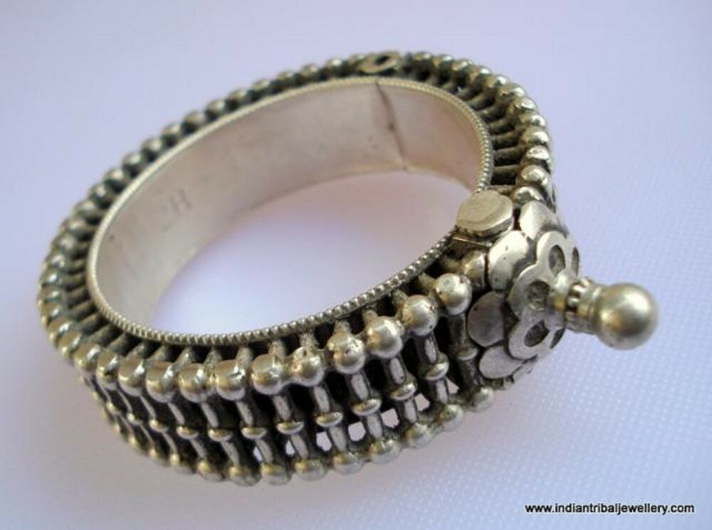 vintage antique ethnic tribal old silver bangle bracelet ...