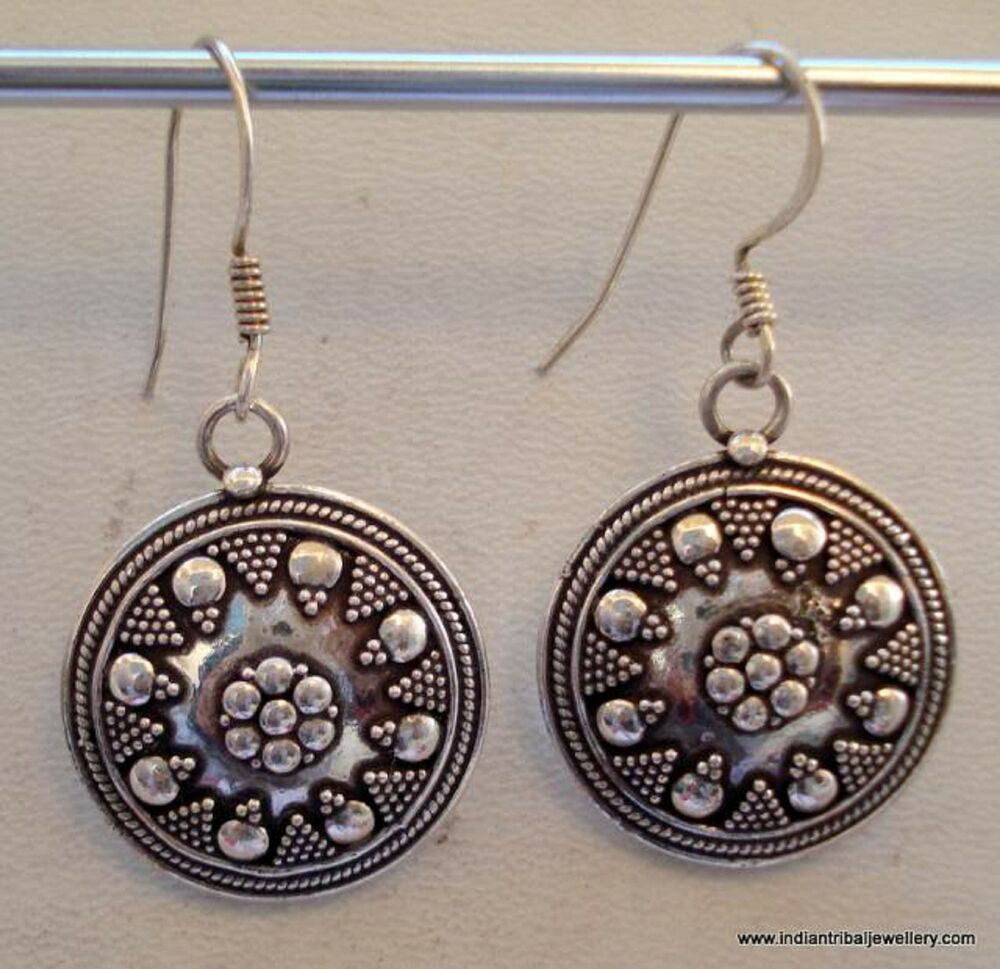 traditional design ethnic sterling silver earrings ...