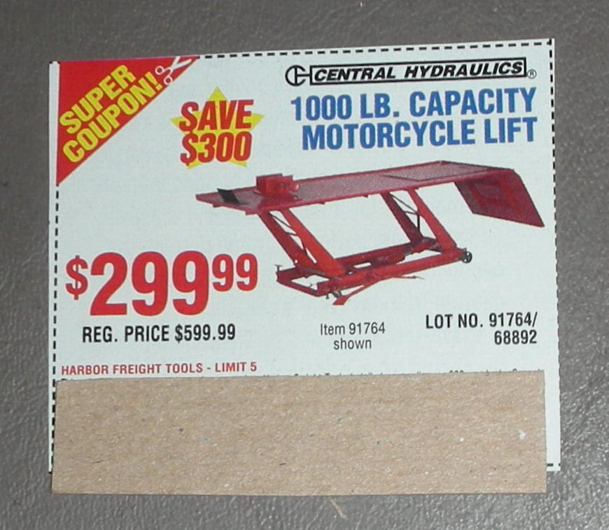 Harbor freight motorcycle lift coupon printable