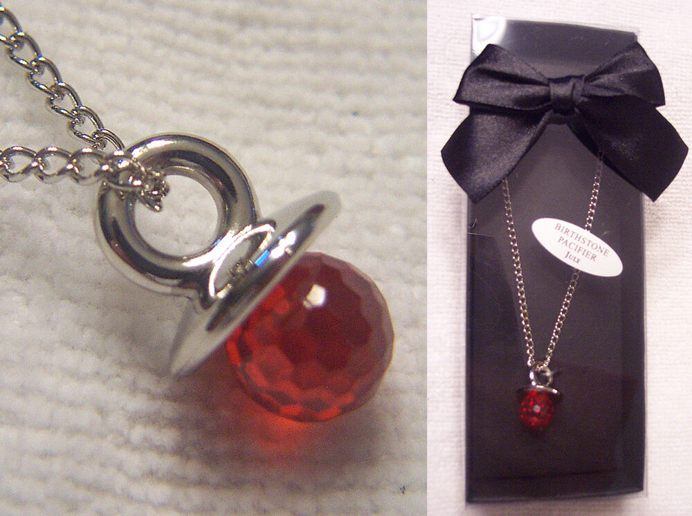 Birthstone Pacifier Binky Charm Pendant Necklace Baby