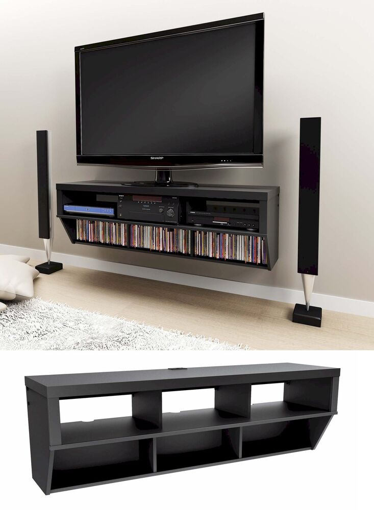 58 wall mounted entertainment console lcd led tv stand w. Black Bedroom Furniture Sets. Home Design Ideas