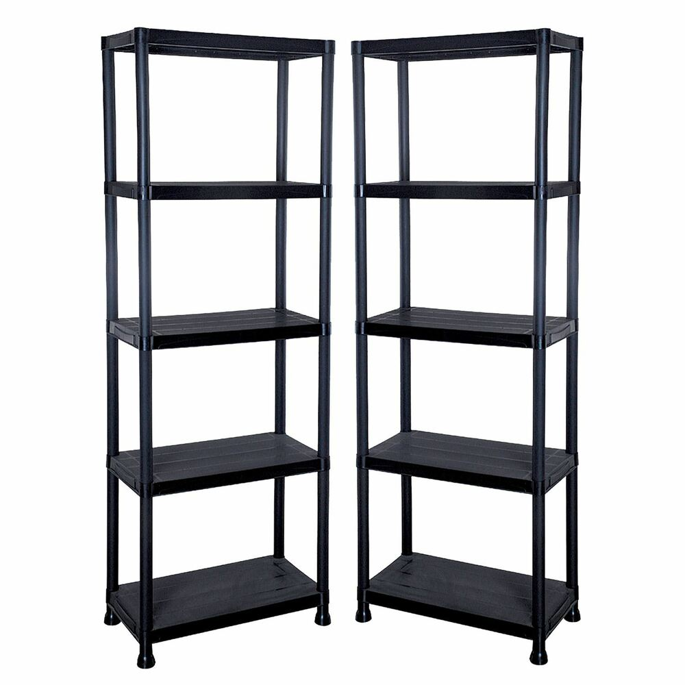 2 X 5 Tier Black Plastic Shelving Shelves Racking Storage