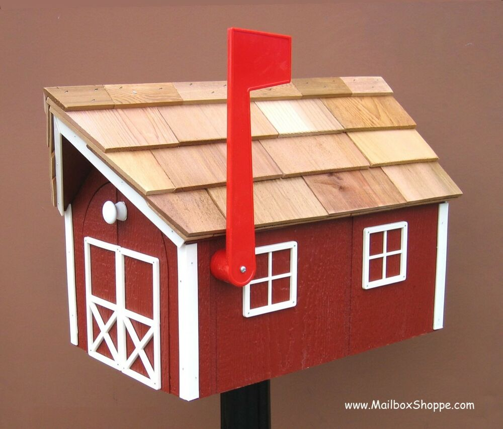 Wood Mail Box - Red Amish Barn Wooden Post Mailbox
