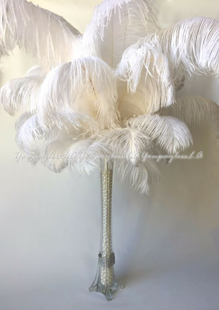 10pc white ostrich feathers used for wedding prom eiffel tower vase centerpiece ebay