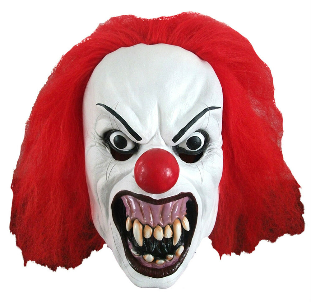 Mens Scary Horror Pennywise Snarling Clown Latex Halloween Costume ...