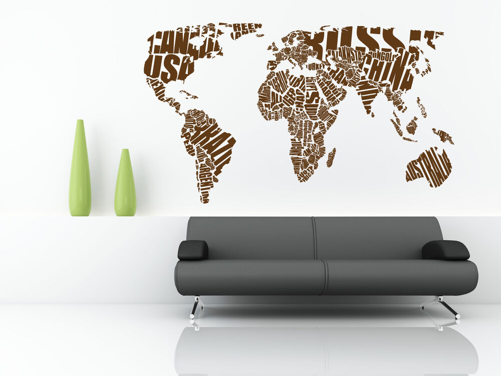 World Map Wall Art Stickers.World Map Wall Stickers Vinyl Art Decals Wall Quotes Ebay