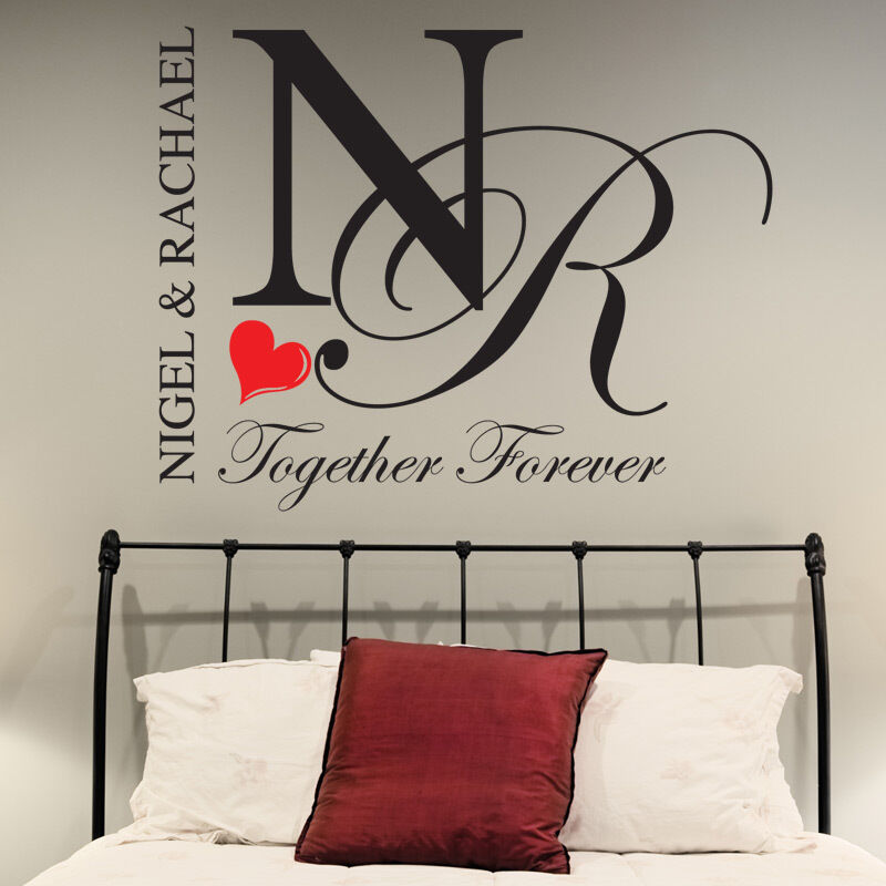 wall sayings for bedroom bedroom wall stickers personalised together forever decals 17758