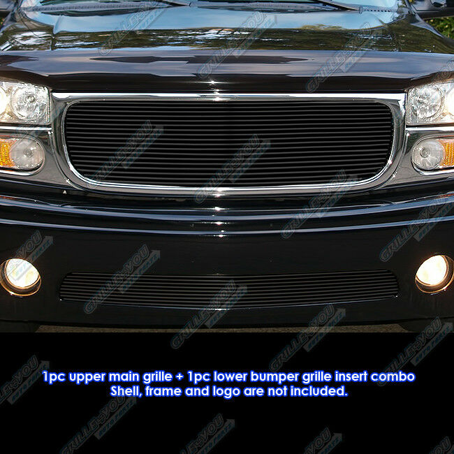 fits 2001 2006 gmc yukon denali black billet grille combo. Black Bedroom Furniture Sets. Home Design Ideas