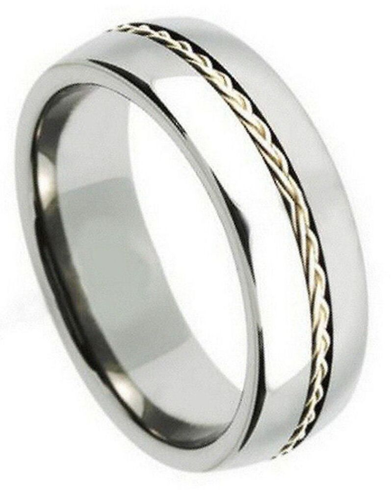 8mm tungsten wedding band ring grooved braided