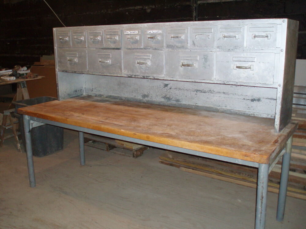commercial butcher block table work bench bakery antique