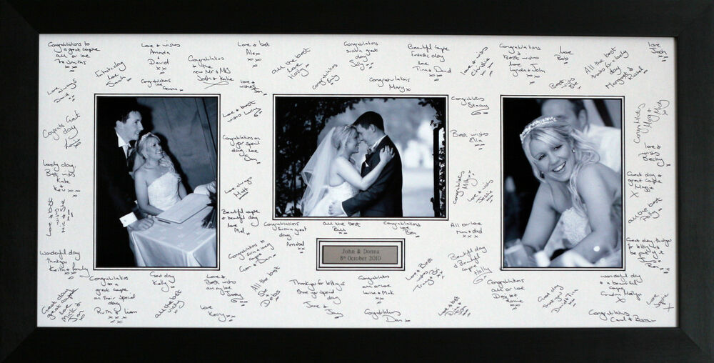 personalised guest signing signature frame 3 photos wedding baby ebay