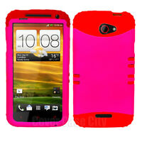 Red Silicone Cover with Hot Pink Hard Hybrid Case for HTC One X S720e Accessory