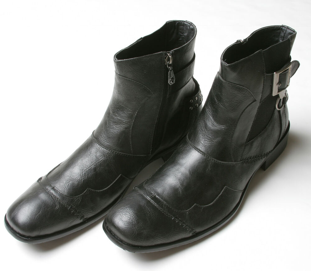 affliction leather buckle boots 8 5 black ad107 ebay