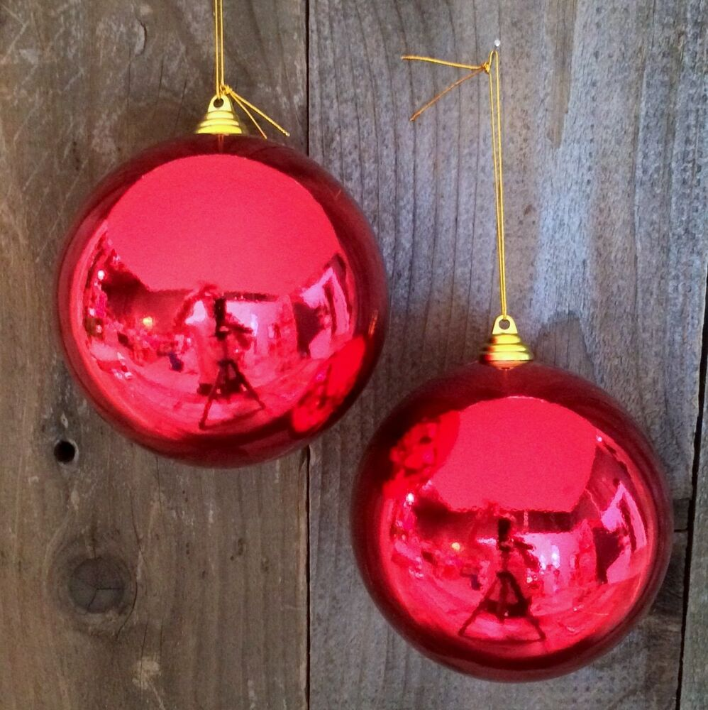 2 shiny red 5 christmas ball plastic outdoor ornaments 5 for Christmas lawn ornaments
