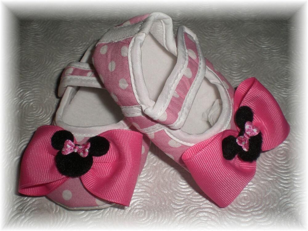 Pink Minnie Mouse Inspired Polka Dot Baby Girl Crib Shoes