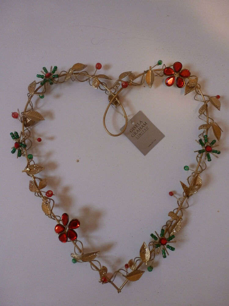 Gisela Graham Gold Wire And Jewel Heart Wreath 25cms Ebay