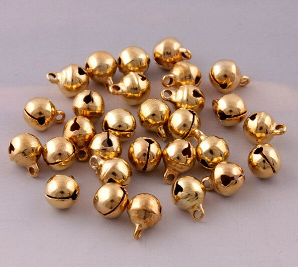 100 pcs gold plated jingle bells loose beads charms jewelry marking