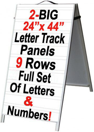Pvc a frame 24quotx48quot sidewalk sign w letter track inserts for Sign letter track kit