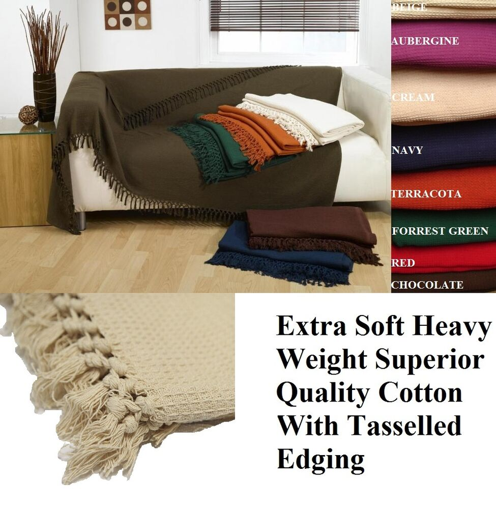 100 Cotton Honeycomb Waffle Sofa Settee Bed Throw With Telled Edging Ebay