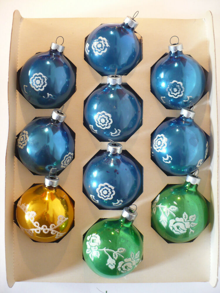 Vintage christmas noelle glass stenciled ornaments in