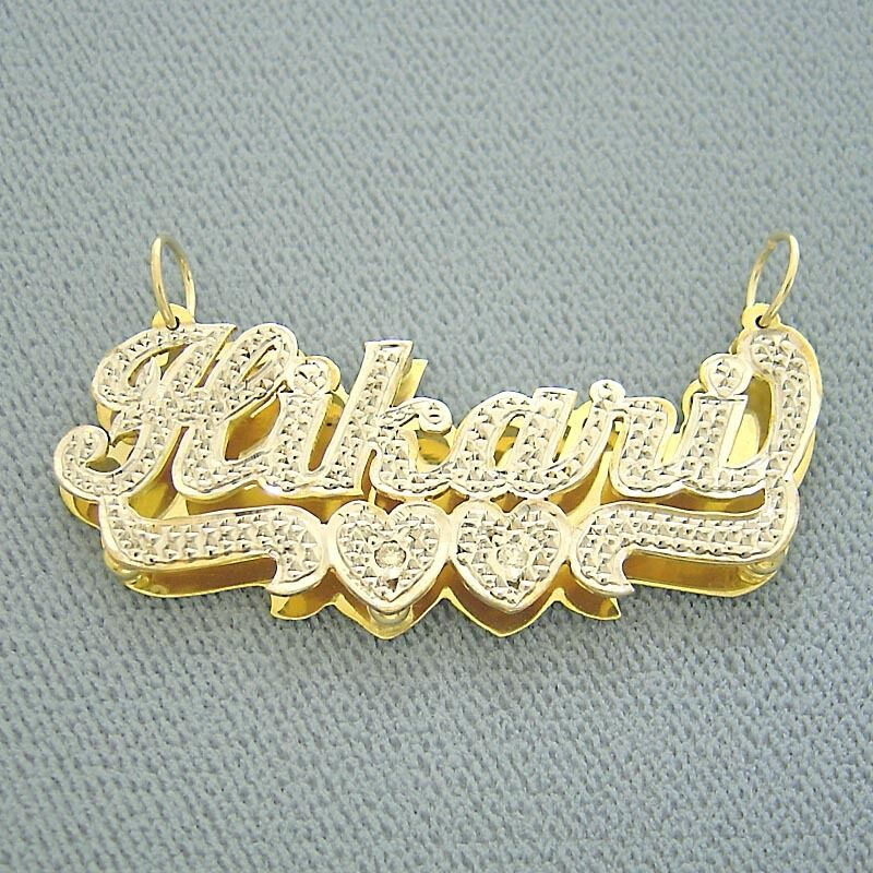 10k Gold Personalized Name 3d Double Plate Pendant Nd16  Ebay. Twisted Band Wedding Rings. Lagos Earrings. Vintage Style Necklace. Male Black Earrings. Where To Find Anklets. Charm Chains. Hematite Beads. Loop Earrings