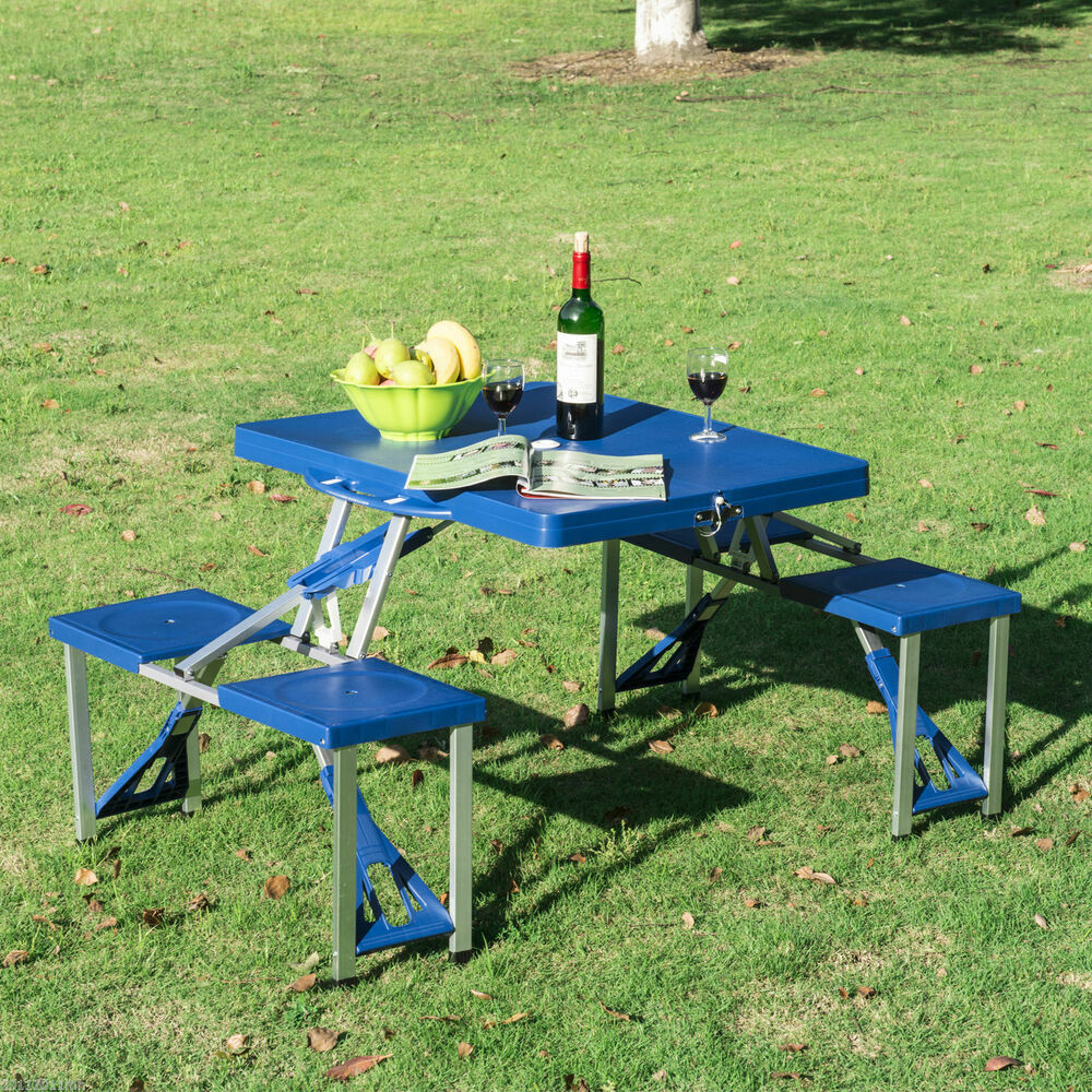 portable folding plastic camping picnic table 4 seats outdoor garden w case blue ebay. Black Bedroom Furniture Sets. Home Design Ideas