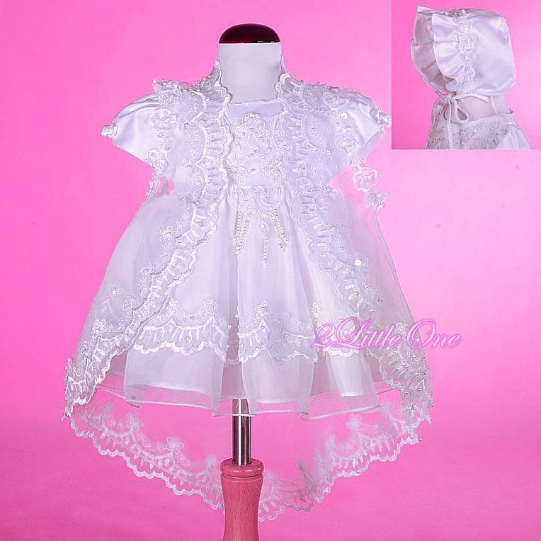 Wedding Dress To Christening Gown: Beaded Baptism Christening Gown Dress Cape Bonnet Wedding