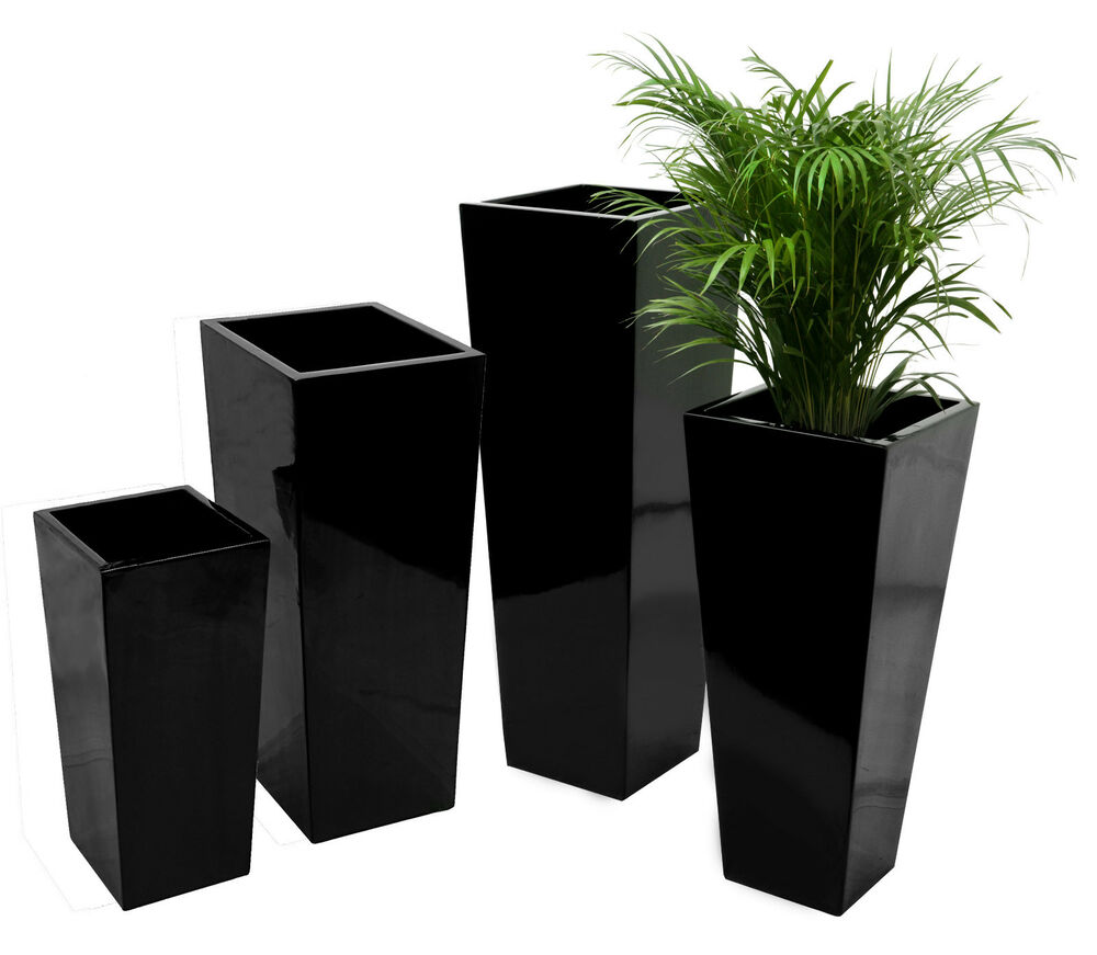 fibreglass planter gloss black plant flower pot garden patio ebay
