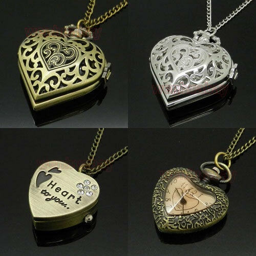 Bronze Silver Heart Shaped Pocket Watch Hollow Necklace