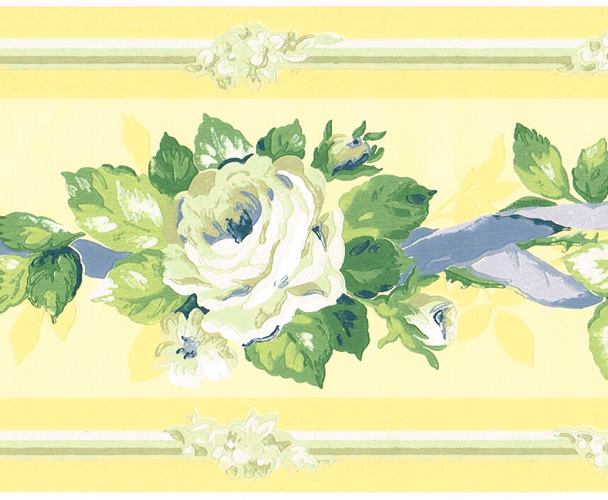 Yellow Blue Ribbon Rose Flower Floral Garland Wall Paper