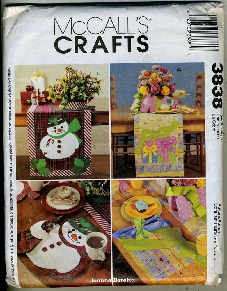 Snowman and package placemats runner centerpieces for Crafts that sell on ebay