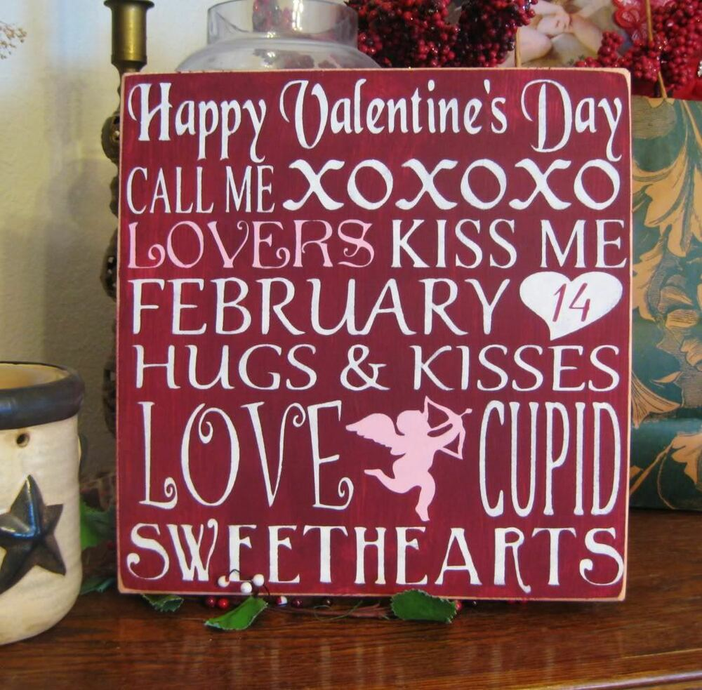 Primitive Valentines Day Sign Cupid Love Heart Subway Art