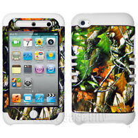 Hybrid White Silicone Cover Mossy Oak Camo Case for Apple iPod Touch 4 4th Gen