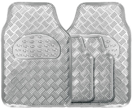 Metallic Silver Heavy Duty Checker Plate Rubber Interior