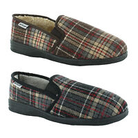 New Mens Dunlop Flat Fur Lined Gusset Slippers Gents Shoes Sizes UK 7 8 9 10 11