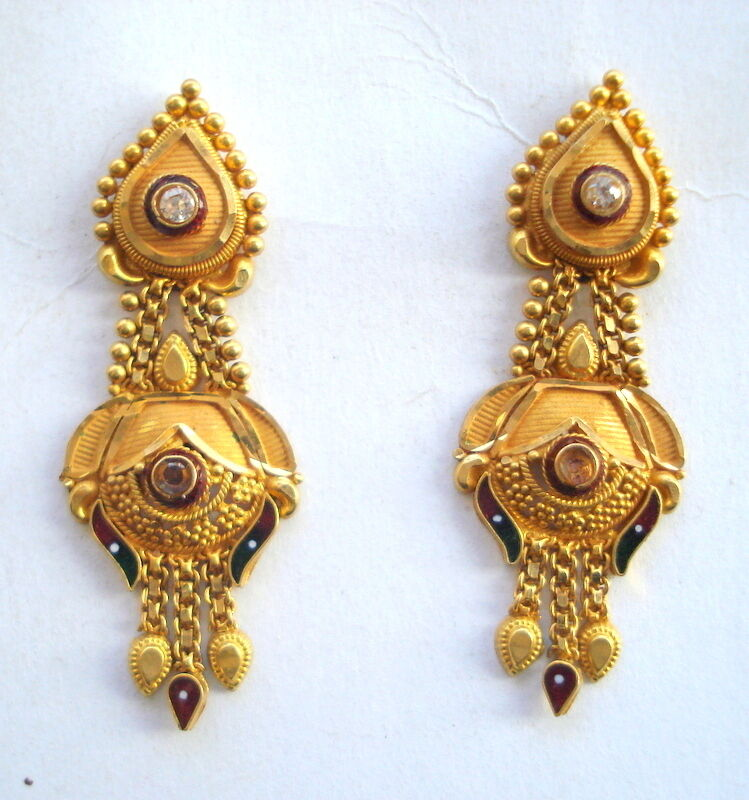 traditional design 20k gold earrings ear plug handmade