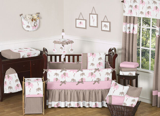 unique discount pink and brown mod elephant designer baby girl crib bedding set ebay. Black Bedroom Furniture Sets. Home Design Ideas