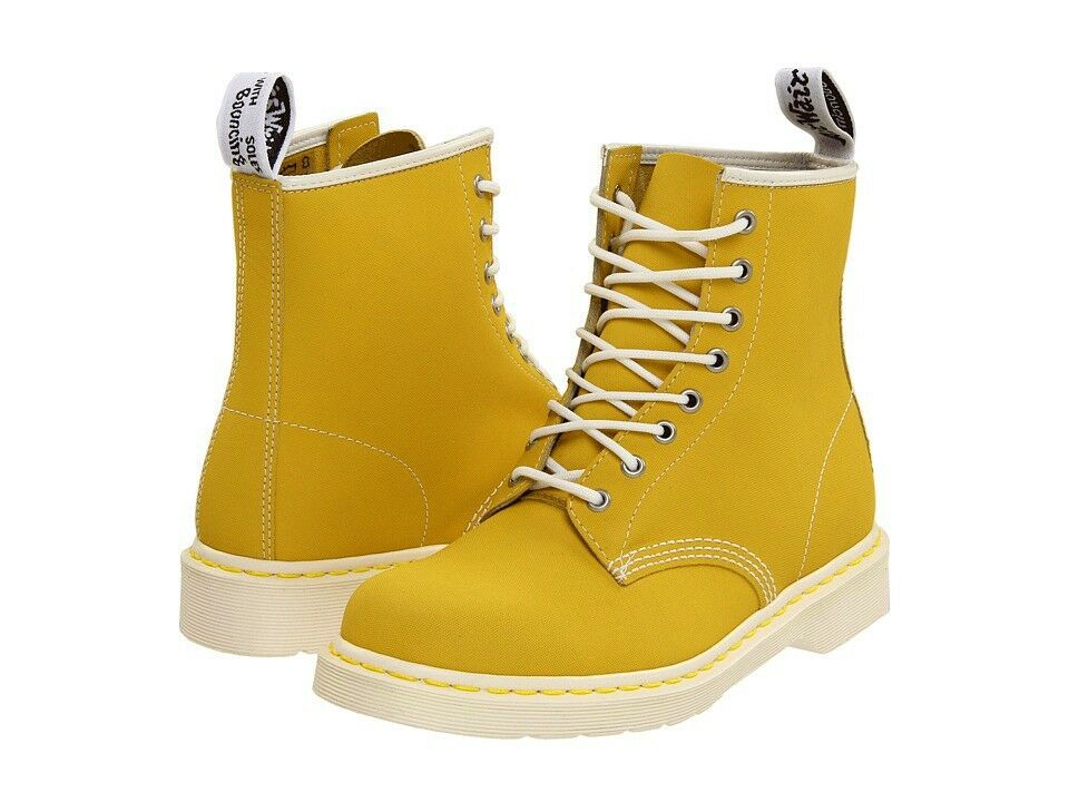 doc martens express yellow tectuff boots white soles 8 eye