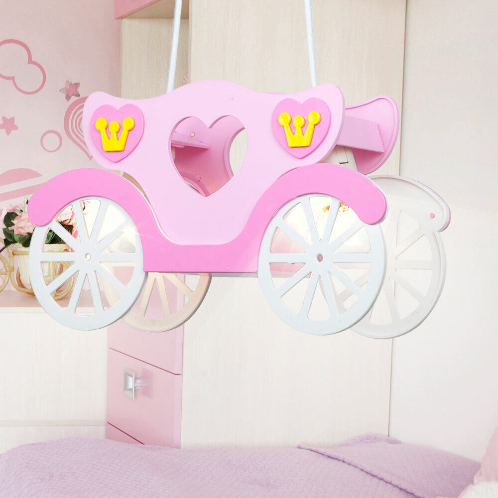 kinder deckenleuchte m dchen h ngeleuchte rosa prinzessinnen kutsche kinderlampe ebay. Black Bedroom Furniture Sets. Home Design Ideas