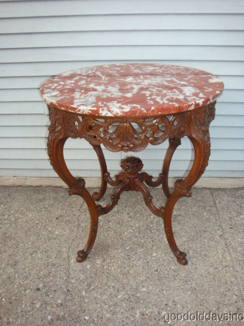 Red Marble Top : Antique american french style red marble top lamp table