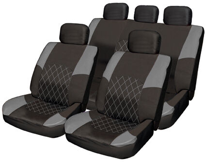 black grey leather look and polyester combination protect car seat covers new ebay. Black Bedroom Furniture Sets. Home Design Ideas