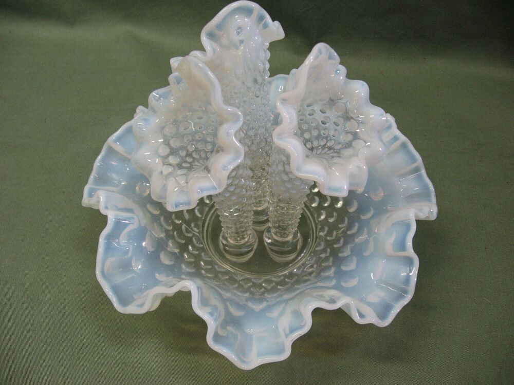 White Opalescent Glass : Vintage fenton hobnail opalescent white glass three horn
