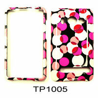 Pink And White Dots On A Black Faceplate Case Cover For HTC Evo 4G A9191 Sprint