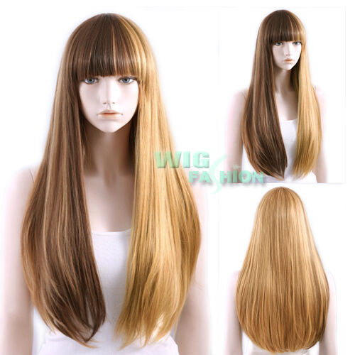 Heat Resistant Long Straight Brown Mixed Blonde Fashion ...