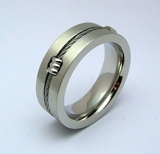 Stainless Steel Mens Wedding Band Ring 8mm: STAINLESS STEEL 316L MENS WEDDING BAND RING CABLE 8mm * US