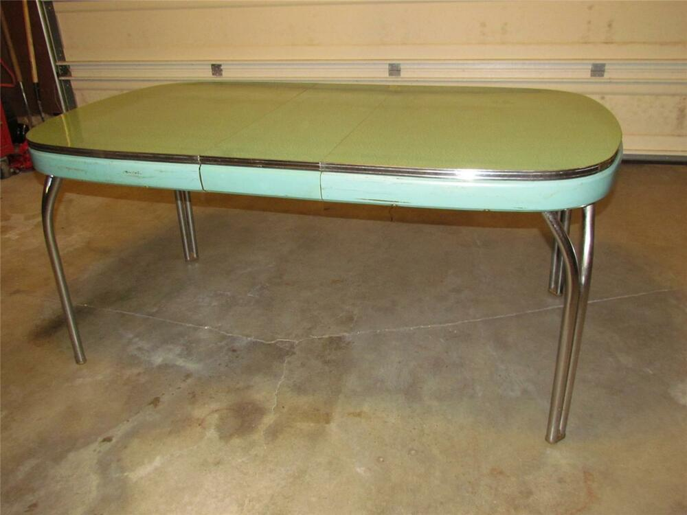 vtg 50s retro aqua blue green formica chrome kitchen table arvin ebay. Black Bedroom Furniture Sets. Home Design Ideas