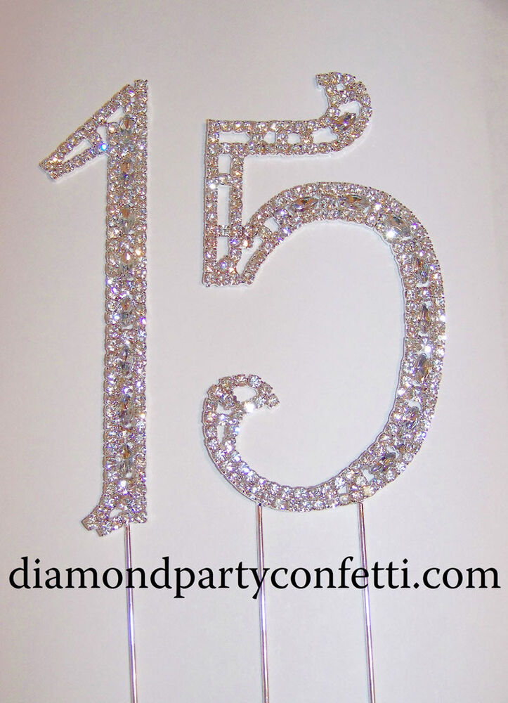 quinceanera cake topper large rhinestone silver quinceanera 15 birthday 6935