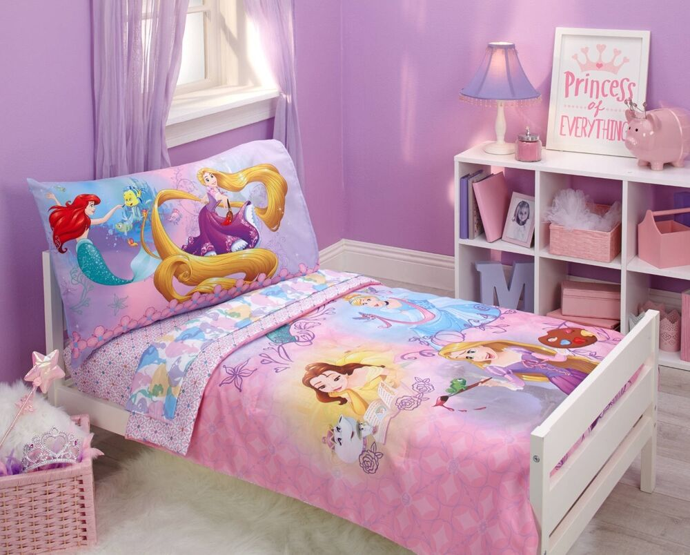 4pc disney princess toddler comforter sheets set girls room crib bed in a bag ebay. Black Bedroom Furniture Sets. Home Design Ideas